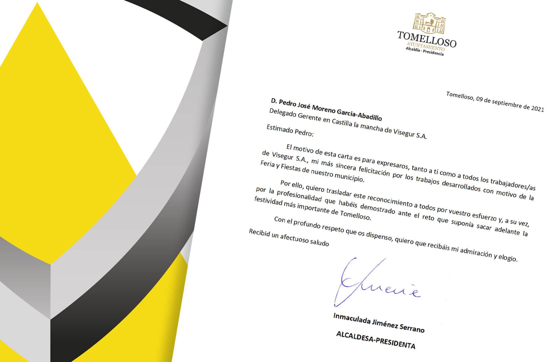 El Ayuntamiento de Tomelloso reconoce la labor de Visegur durante las recientes fiestas del municipio